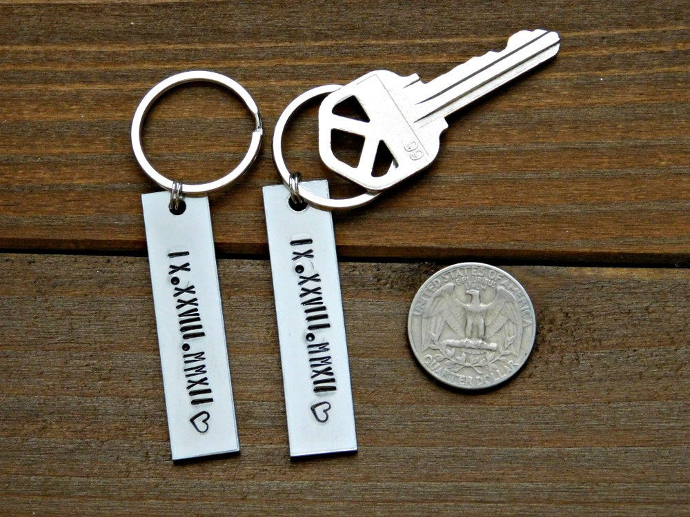 Roman Numeral Date Keychain Set Custom Couples Gift His Her Valentines Wedding Anniversary Stamped Personalized Silver Christmas Birthday