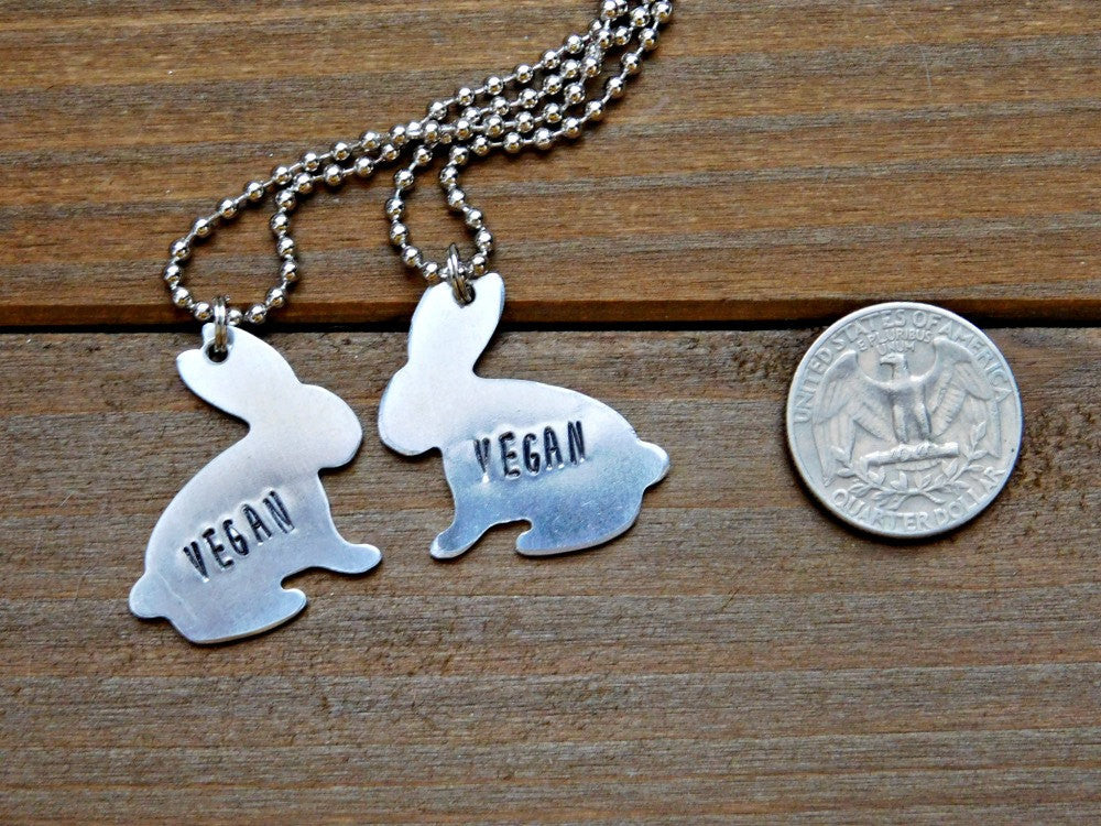 Vegan Necklace Set Stamped Pair Couples Sisters Duo Silver Rabbit Cruelty Free Plant Strong Veg Animals Earthling Christmas Birthday Gift