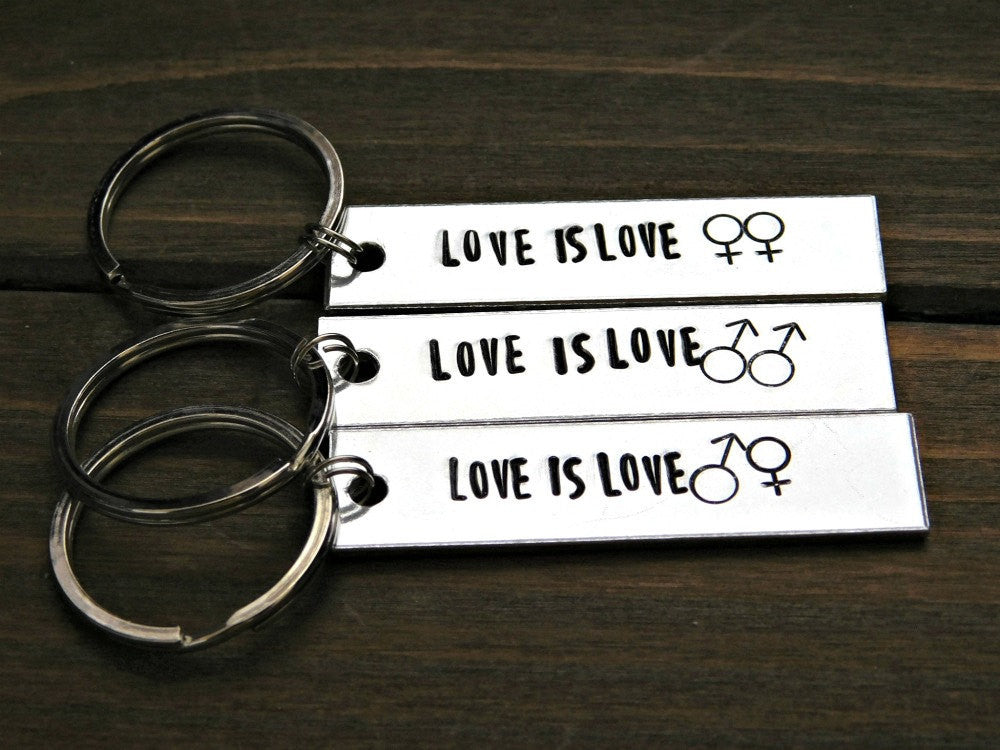 Love Is Love Keychain LGBT Couples Gift Silver Gay Lesbian LGBTQ Anniversary Unisex Male Female Symbols Valentines Christmas Gift Stamped