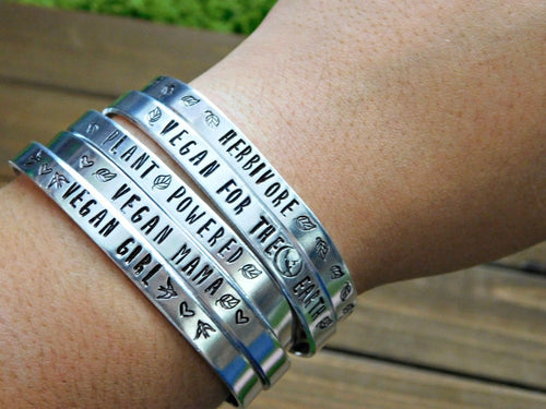 Vegan Girl Stamped Bracelet Custom Gift Vegetarian Jewelry Personalized Christmas Secret Santa
