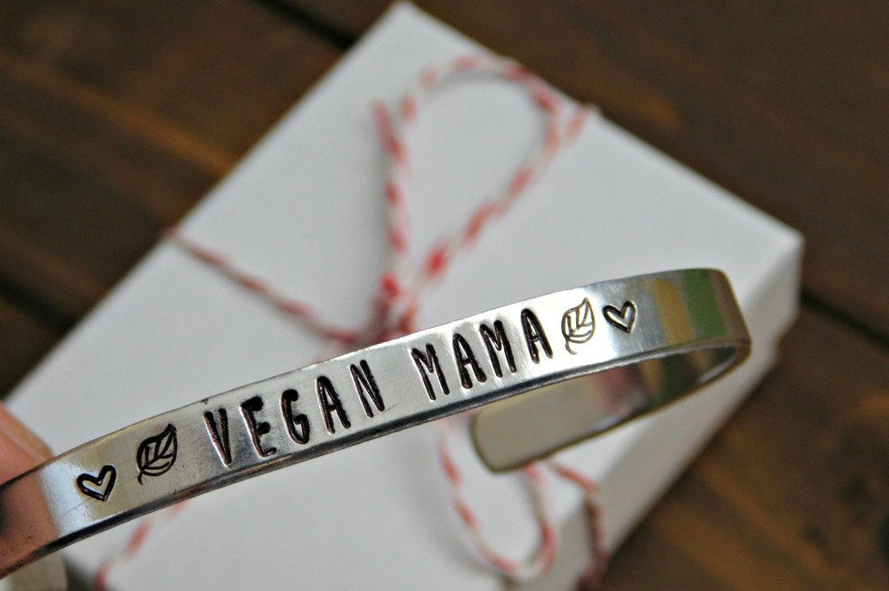 Vegan Mama Bracelet Mothers Day Vegan Gift Vegan Mom Jewelry Christmas Gift Inspirational Red Pandas Closet Veg Plant Based Lifestyle Silver