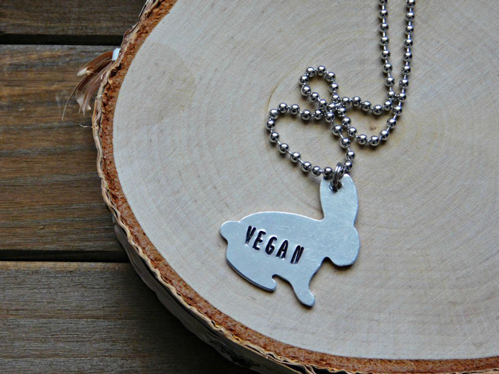 Vegan Necklace Jewelry Bunny Rabbit Hand Stamped Animal Rights Cruelty Free Earthling Statement Gift