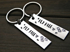 Fly Free Keychain Stamped Flying Bird Inspiration Message Custom Gift Birthday Christmas Graduation
