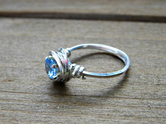Aquamarine Ring Sterling Silver Promise Engagement Wire Wrapped 6MM Gemstone March Birthstone