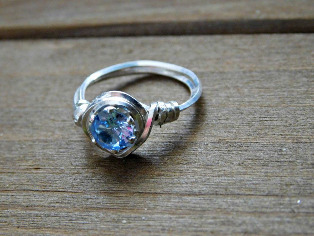 Aquamarine Ring Sterling Silver Promise Engagement Wire Wrapped 6MM Ge