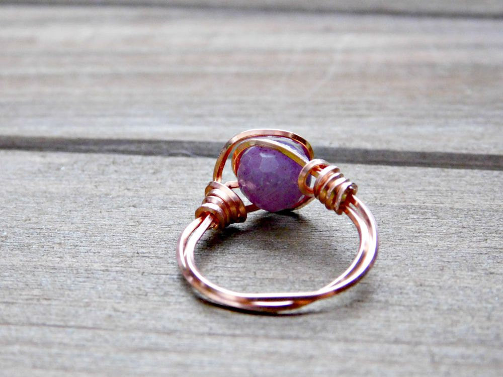 Sapphire Gemstone Promise Ring Wire Wrapped Copper Natural Gem Crystal Stone Custom Fit Size Womens Birthday Anniversary Valentines Day Gift