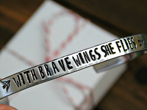 With Brave Wings She Flies Stamped Bracelet Inspirational Quote Adjustable Fit Birthday Christmas