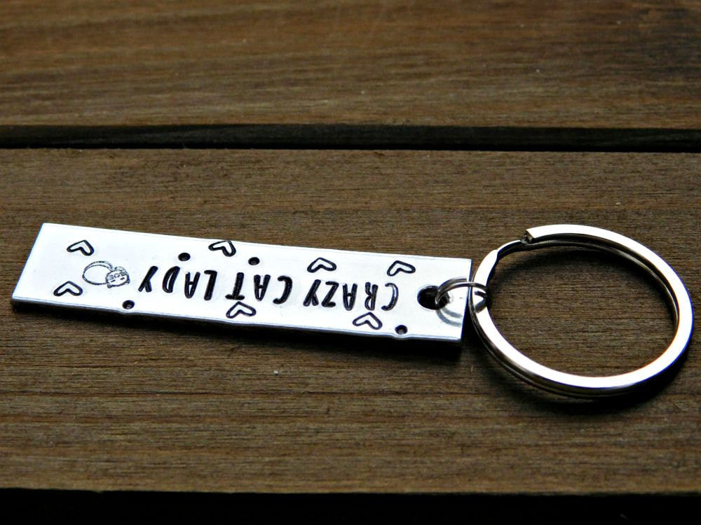 Crazy Cat Lady Gift Stamped Keychain Love Cats Kitty Lover Pet Rescue Birthday Anniversary Christmas