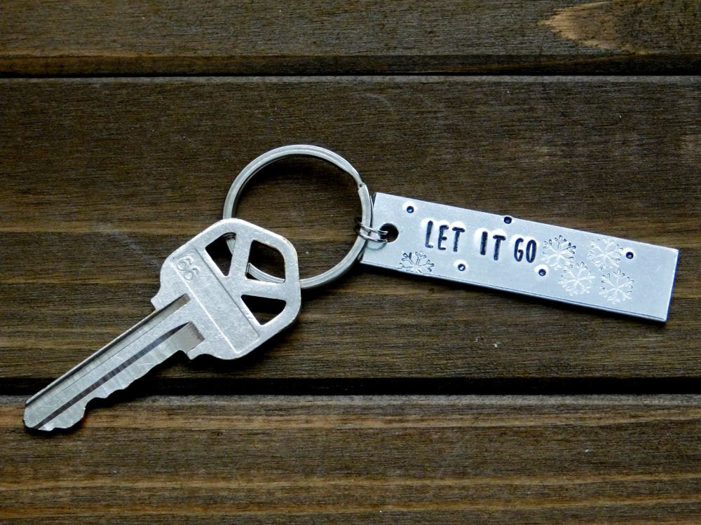 Let It Go Keychain Gift Stamped Custom Message Snowflake Winter Design Christmas Birthday