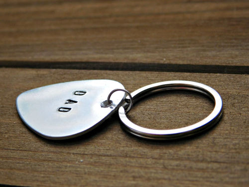 Custom Dad Keychain Daddy Fathers Day Stamped Gift Christmas Birthday Guitar Pick Grandpa Father