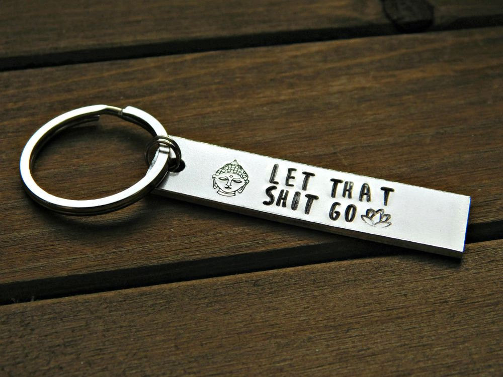 Let That Sh*t Go Keychain Moving On Gift Stamped Buddha Lotus Meditation Yoga Design Buddhist Mature