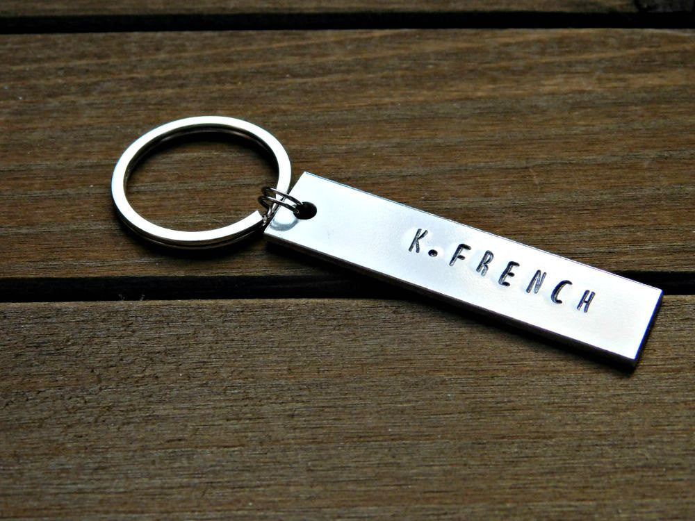 Custom Name Keychain Personalized Stamped Gift Customize Unisex Birthday Wedding Favor Christmas