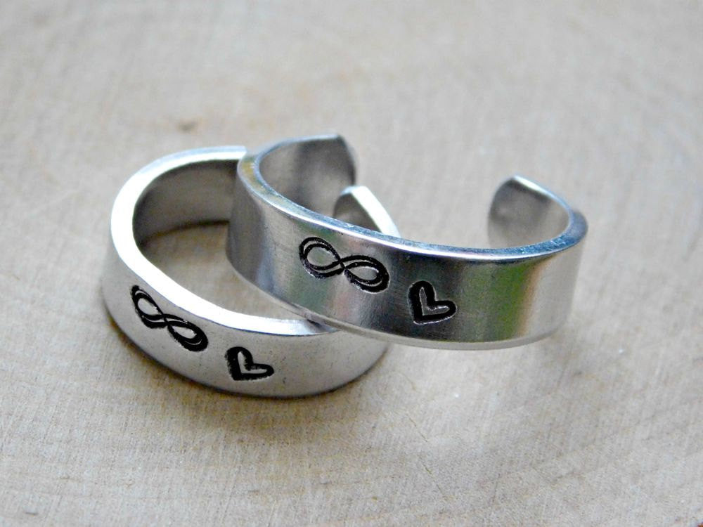 INFINITY RING COUPLES CUSTOM CUFF STAMPED ENGRAVED GIFT ANNIVERSARY PROMISE RING ADJUSTABLE METAL