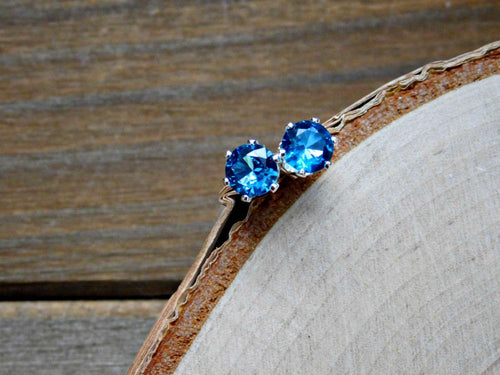 Blue Zircon Earrings Sterling Silver December Birthstone Pierced Stud Earring 6MM Gemstone