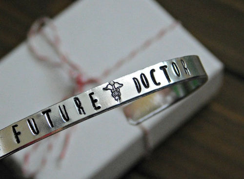 Future Doctor Bracelet Unisex Cuff Inspirational Gift Student Intern Back To School Graduation