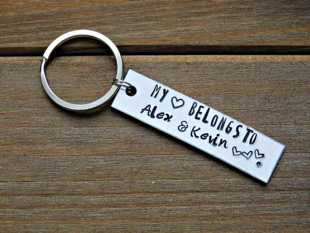 My Heart Belongs To Custom Keychain Personalized Name Text Message Keyring Gift Love Valentines Day