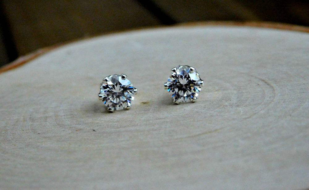 Sterling Silver Cubic Zirconia Stud Earrings April Birthstone Earring 925 6MM Gem Zircon Everyday Delicate Simple Womens Birthday Gift
