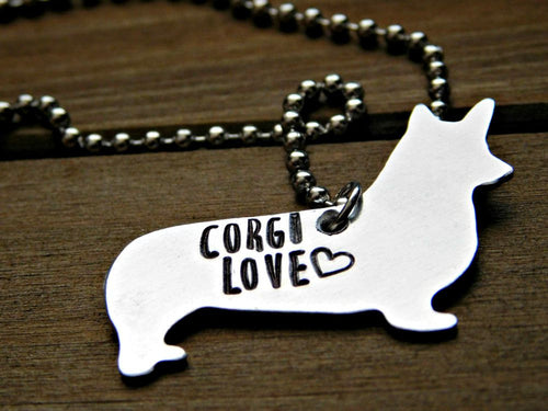 Corgi Necklace Dog Pet Memorial Jewelry Custom Stamped Gift Animal Lover Dogs Pendant CorgisLove