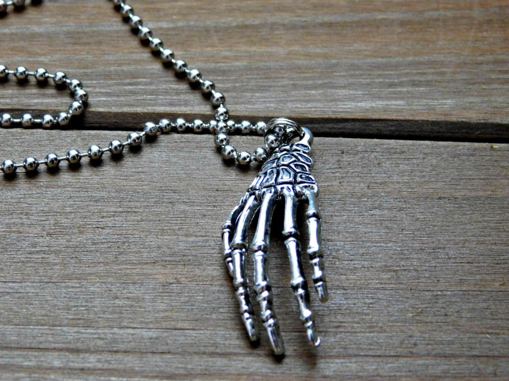 Zombie Hand Necklace Skeleton Bone Charm Halloween Costume Walker Undead Outfit Accessory
