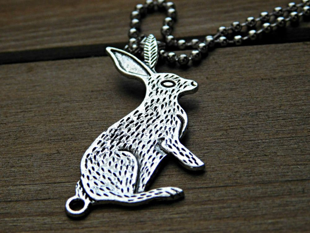 Vegan Necklace Rabbit Charm Silver Animal Rights Earthling Christmas Gift Birthday Eco Friendly Cruelty Free Plant Strong Veg Vegetarian