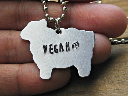 Sheep Necklace Silver Vegan Jewelry Stamped Custom Gift Veg Cruelty Free Earthling Animal Rights Eco Friendly Birthday Christmas Valentines