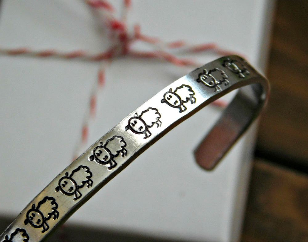 Sheep Bracelet Vegan Gift Jewelry Stamped Cuff Silver Custom Christmas Birthday Inspirational Cute Animal Rights Activist Cruelty Free Love