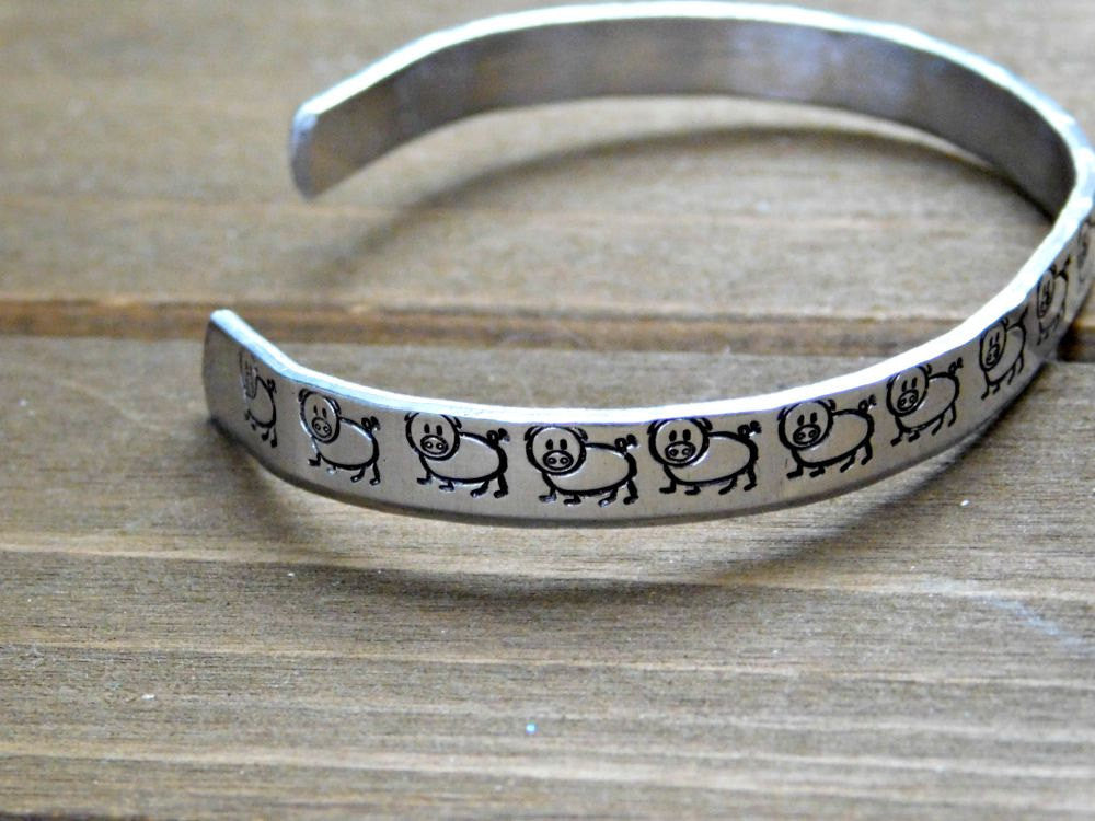 Pig Bracelet Vegan Pig Gift Jewelry Stamped Cuff Silver Custom Christmas Birthday Inspirational Cute Animal Rights Activist Cruelty Free