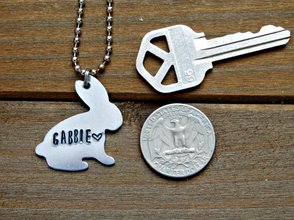 Nickname Necklace Name Rabbit Custom Stamped Pendant Silver Jewelry Birthday Gift Animal Lover Bunny Cruelty Free Vegan Christmas Valentine