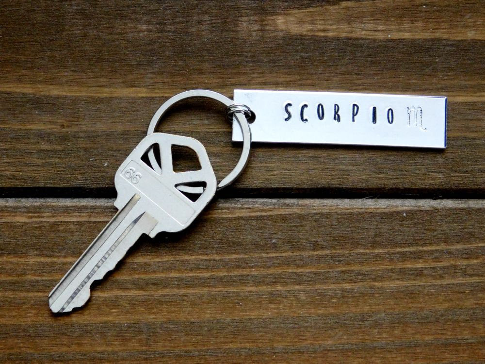 Scorpio Keychain Zodiac October November Birthday Gift Scorpion Astrology Symbol Stamped