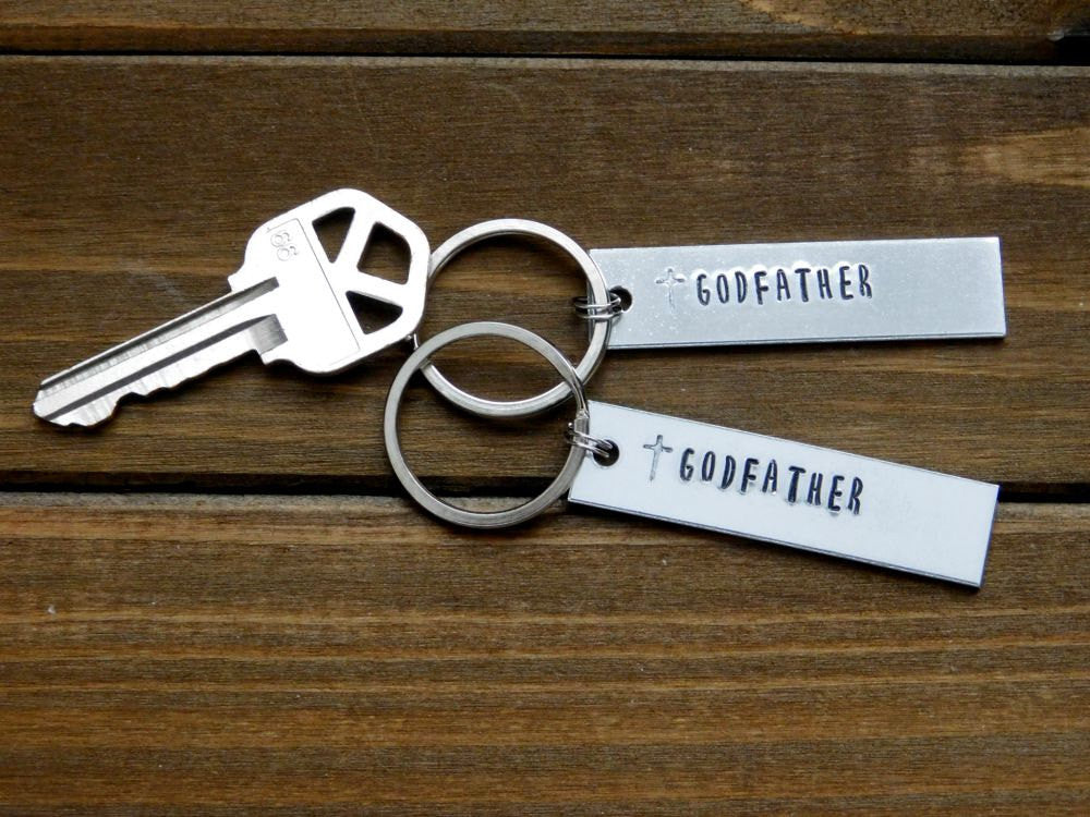 Godfather Gift Godparent Keychain Godmother Stamped Baptism Christening New Baby Baptismal Thank You