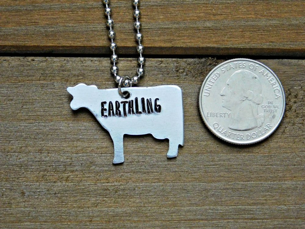 Cow Necklace Earthling Vegan Jewelry Stamped Custom Gift Veg Cruelty Free Animal Rights Eco Friendly