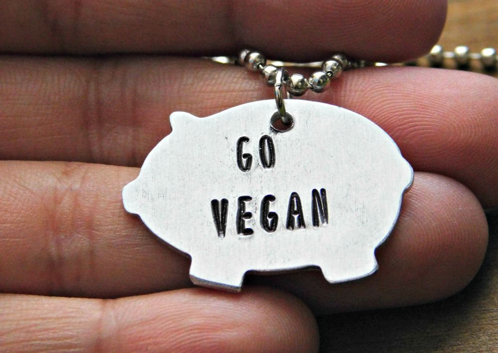 Pig Necklace Vegan Go Veg Jewelry Stamped Custom Gift Silver Earthling Cruelty Free Animal Rights Eco Friendly Birthday Christmas Valentines