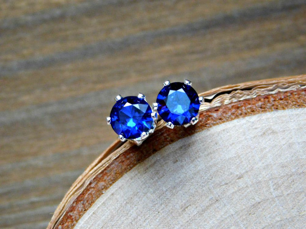 Sapphire Stud Earrings Sterling Silver 925 Blue Gemstone September Birthstone Earring 6MM Gem Everyday Classic Delicate Womens Birthday Gift