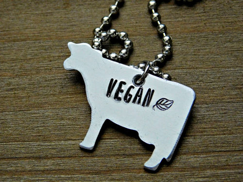 Vegan Cow Necklace Animal Rights Jewelry Custom Veg Cruelty Free Activist Birthday Christmas Gift