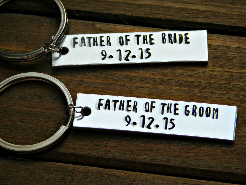 Custom Keychain Father Of The Bride Groom Thank You Gift In Law Weddin