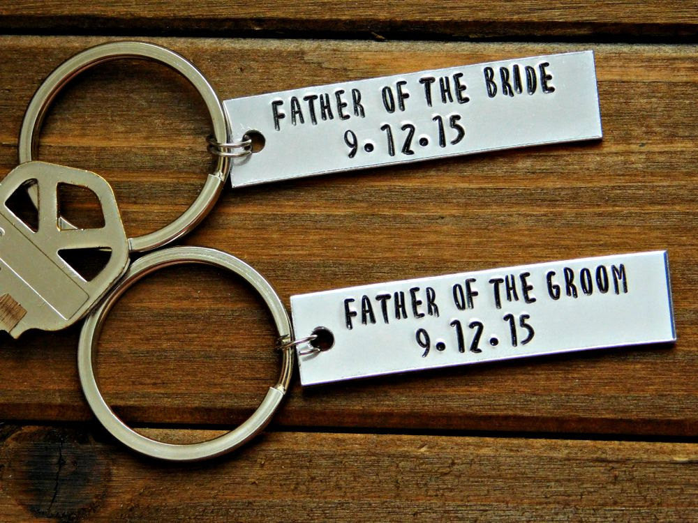 Custom Keychain Father Of The Bride Groom Thank You Gift In Law Wedding Personalized Stamped