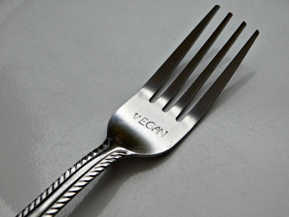 Vegan Fork Hand Stamped Dinnerware Forks Custom Personalized Cutlery S