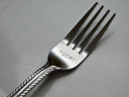 Vegan Fork Hand Stamped Dinnerware Forks Custom Personalized Cutlery Silverware Birthday Housewarming Gift Christmas Plant Based Dining USA