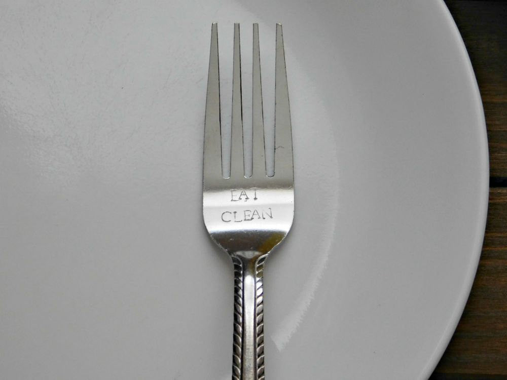 Eat Clean Fork Custom Dinnerware Stamped Housewarming Gift Personalized Silverware Cutlery Diet