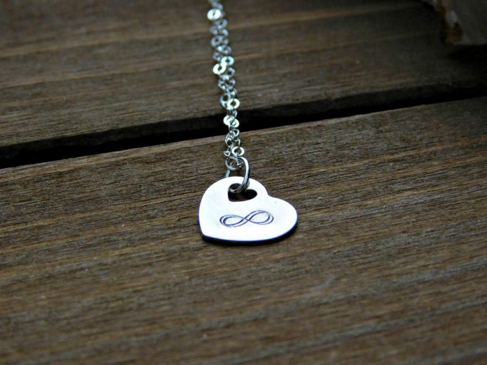 Silver Infinity Necklace Heart Sterling Love Anniversary Valentines Wedding Womens Gift Bridesmaid Jewelry Friendship Birthday Christmas