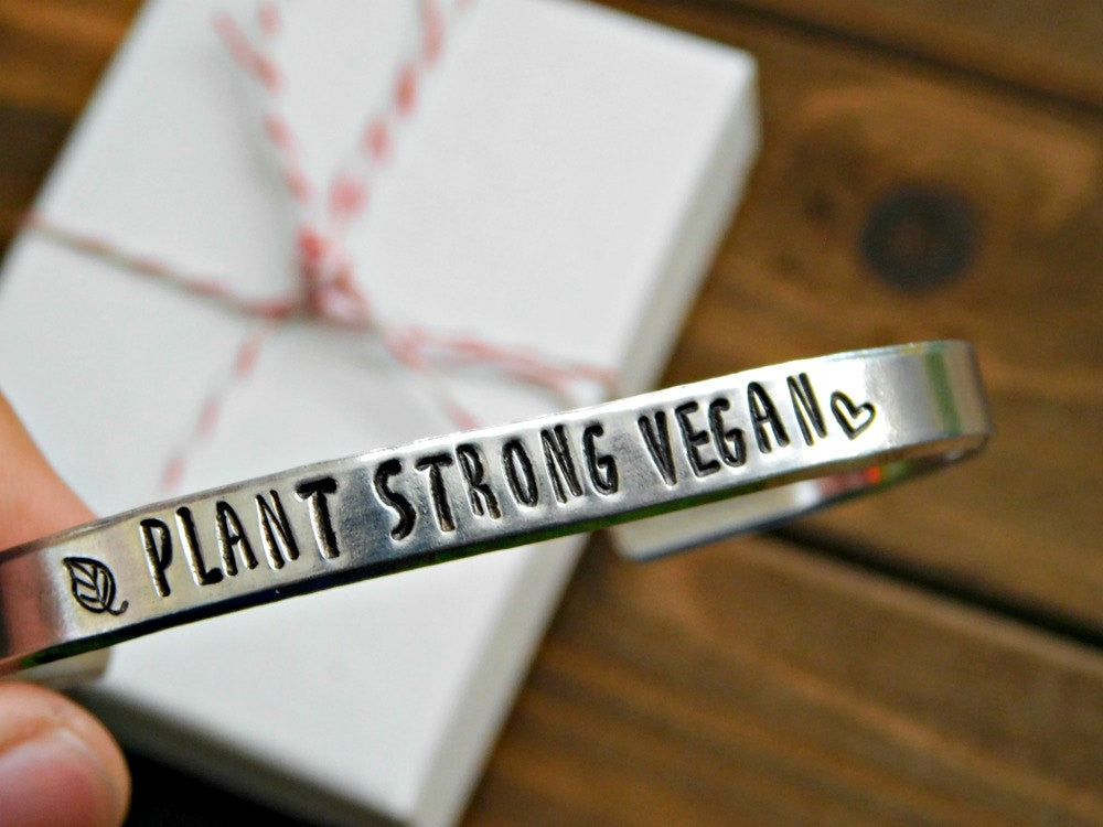 Plant Strong Bracelet Vegan Gift Vegan Jewelry Fit Vegan Fitness Christmas Gift Inspirational Eco Friendly Healthy Motivation Plant Based