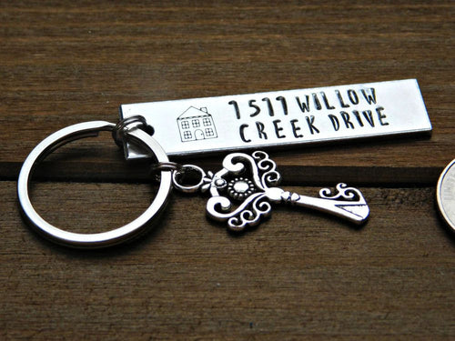 Custom Address Keychain Housewarming Celebration New Home Real Estate Gift Personalized Location