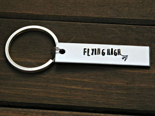 Flying High Bird Keychain Custom Stamped Inspirational Graduation Gift Message Inspire Birthday