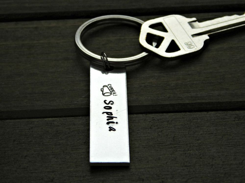 Cheerleader Keychain Personalized Gift Custom Name Megaphone Design Stamped Christmas Graduation