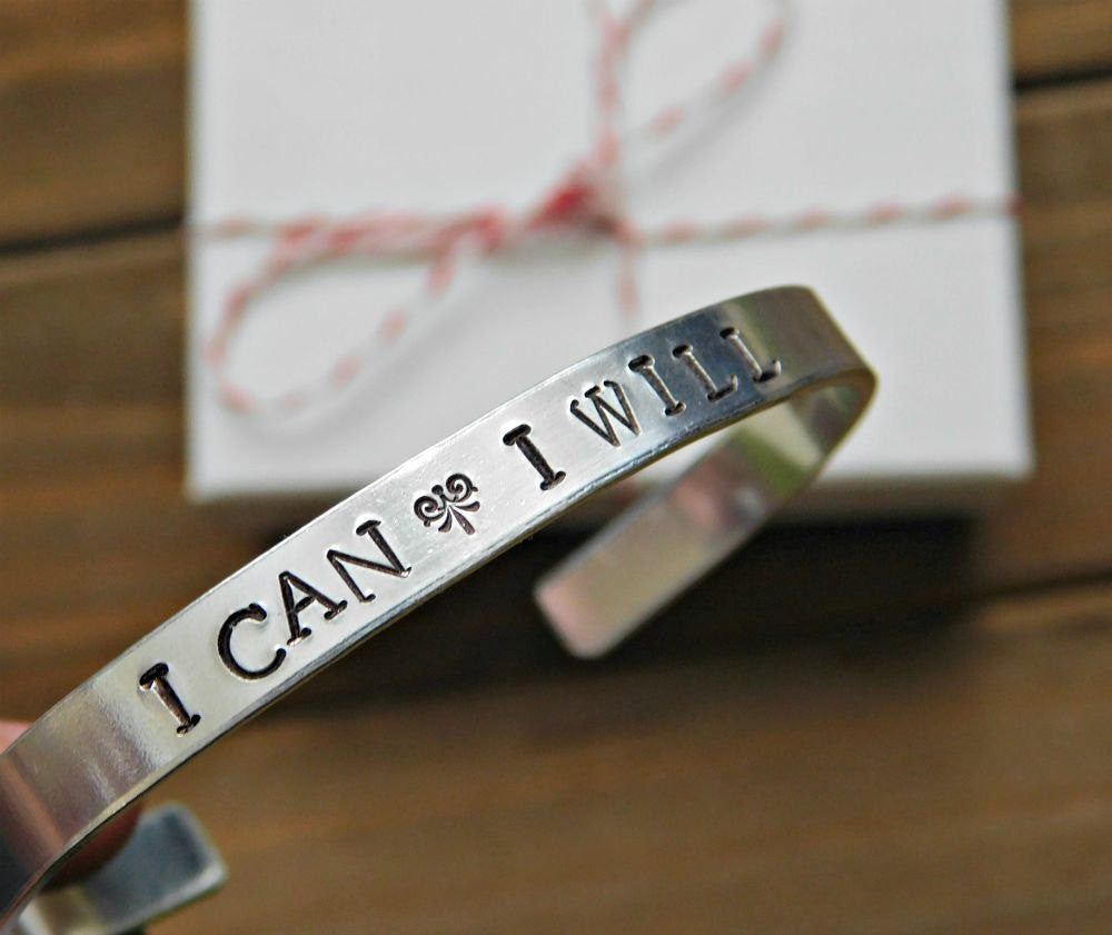 I Can I Will Bracelet Unisex Cuff Custom Stamped Gift Quote Jewelry Inspiration Message Motivation