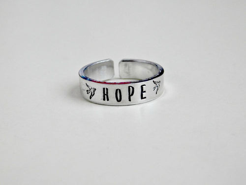 Hope Ring Stamped Word Bird Custom Gift Recovery Get Well Inspire Inspiration Motivation Adjustable Band Cuff Silver Unisex RedPandasCloset