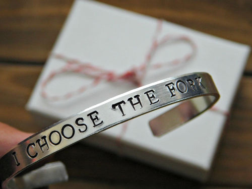 Choose The Fork Vegan Bracelet Gift Animal Rights Jewelry Veganism Advocacy Unisex Stamped Cuff