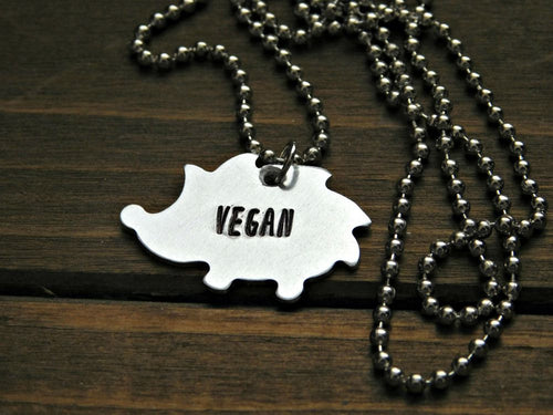 Hedgehog Necklace Custom Vegan Jewelry Animal Pet Lover Veganism Animal Rights Christmas Birthday