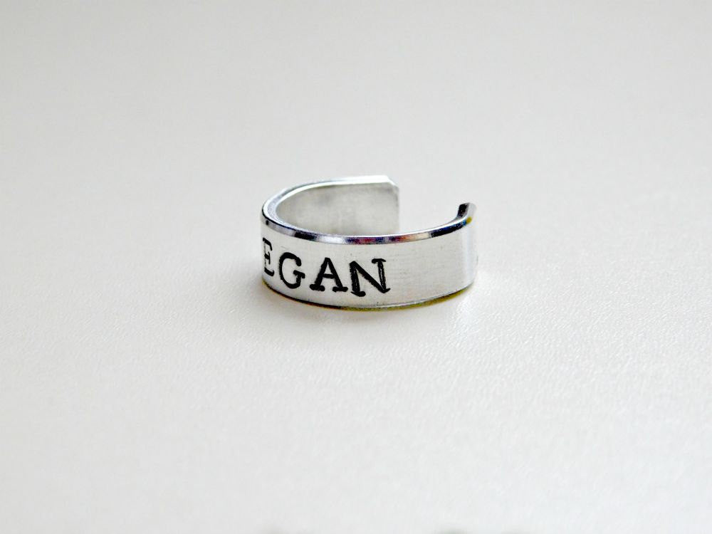 Vegan Ring Unisex Custom Size Gift Vegetarian Animal Rights Activism Veg Stamped Christmas Birthday