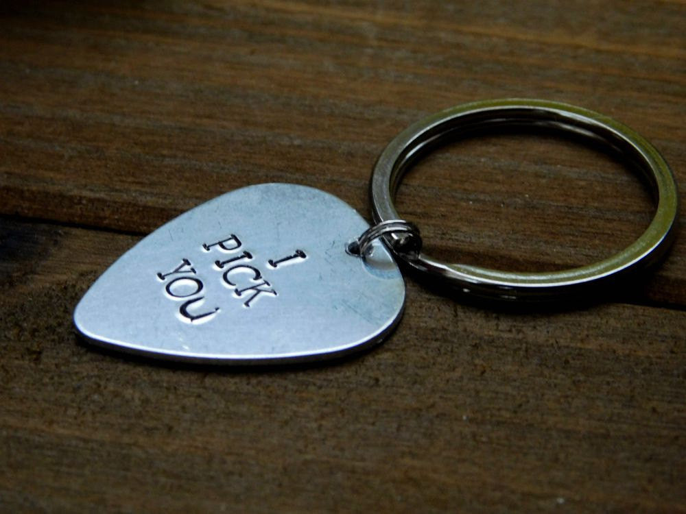 I Pick You Guitar Pick Keychain Custom Stamped For Him Music Lover Valentines Birthday Christmas
